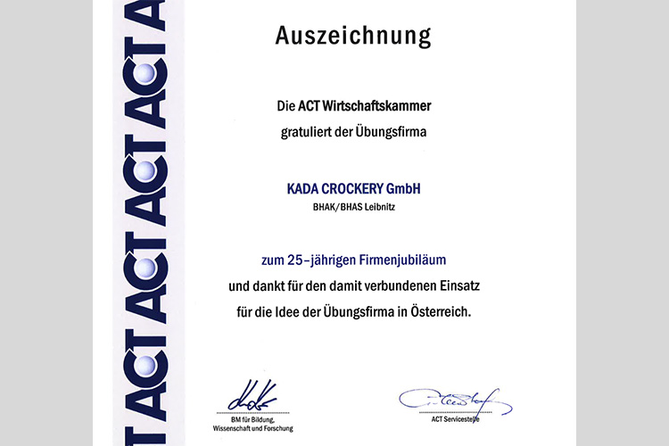 Auszeichnung für 25 Jahre Kada Crockery GmbH