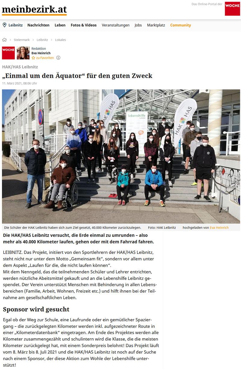 """Pressebericht """"Mein Bezirk"""" Einmal um den Äquator"""