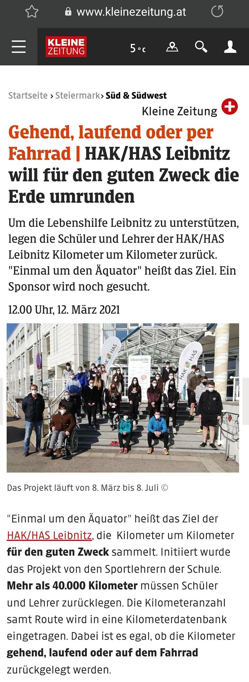 """Pressebericht """"Kleine Zeitung"""" Einmal um den Äquator"""