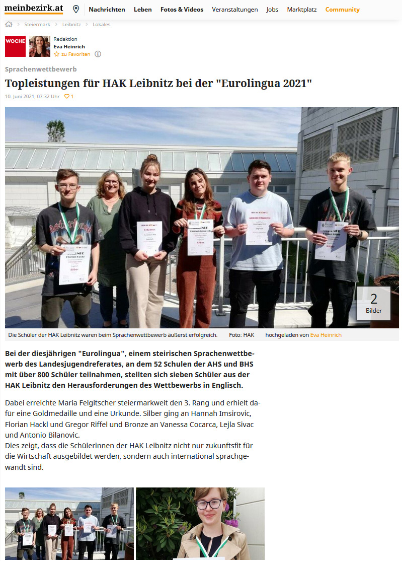 "Schüler/innen der HAK Leibnitz beim ""Eurolingua""-Wettbewerb"