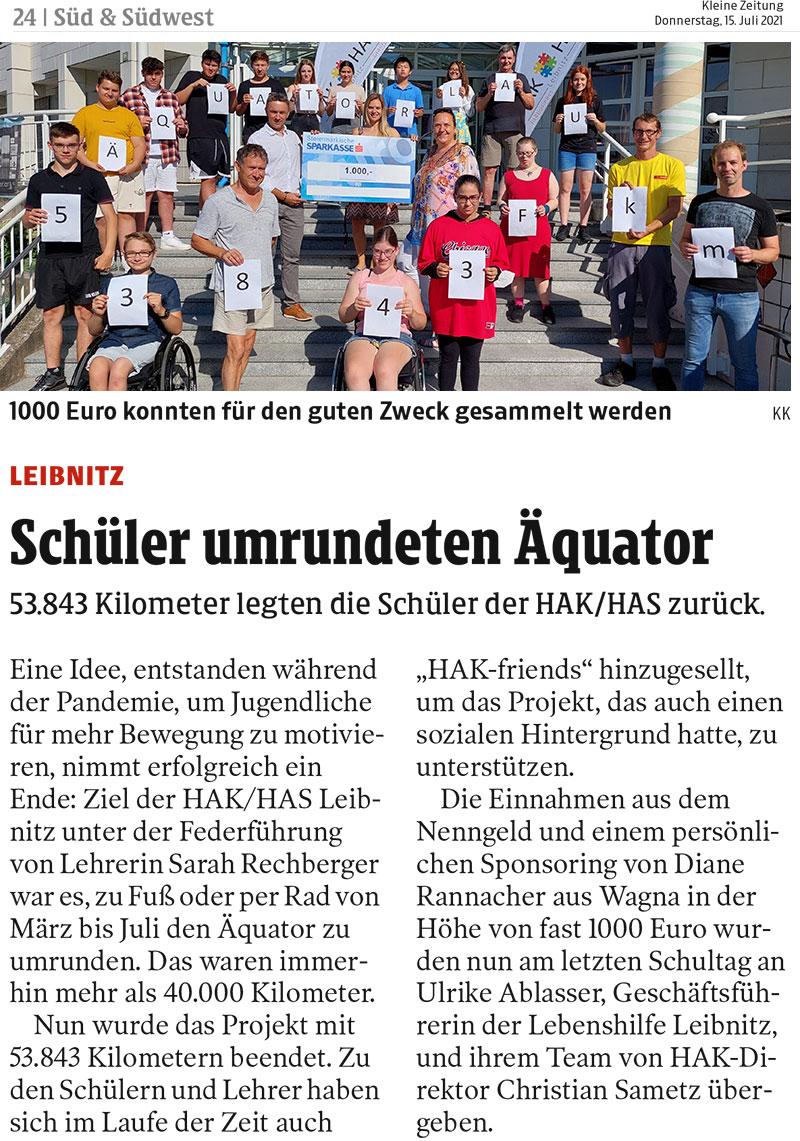 Äquatorlauf der HAK/HAS Leibnitz: fast 1000 Euro konnten für die Lebenshilfe Leibnitz gesammelt werden.